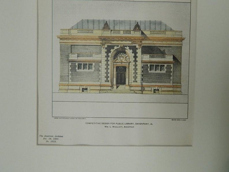 Antique Davenport Original Plan Architecture Hand Colored Iowa Vintage William L Woollett 1901 Architects Public Library