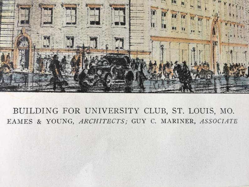 University Club Vintage Architecture Eames /& Young Missouri Original St Louis Architects Hand Colored 1918 Antique