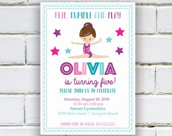 Gymnastics Birthday Party Invitation, Gymnastics Invite, Girl Bday Invitations, Gymnast Birthday Invites,  Girl Birthday, pink purple aqua