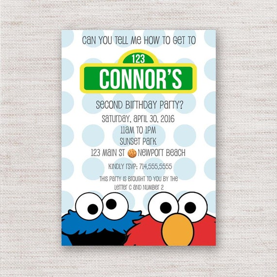 Elmo Cookie Monster Birthday Invitation