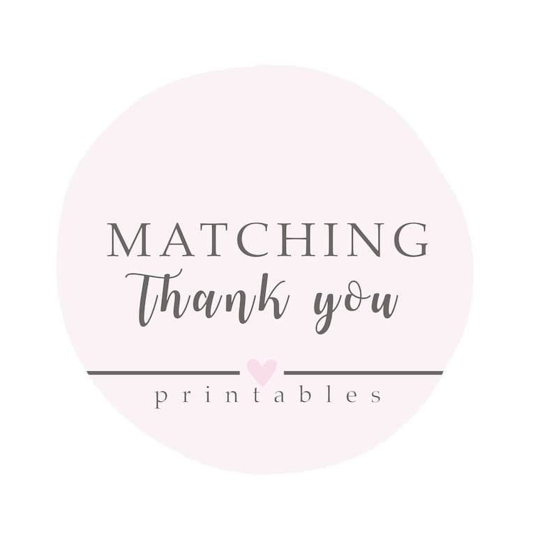 Matching Thank You Card Thank You Printable File Thank you image 0