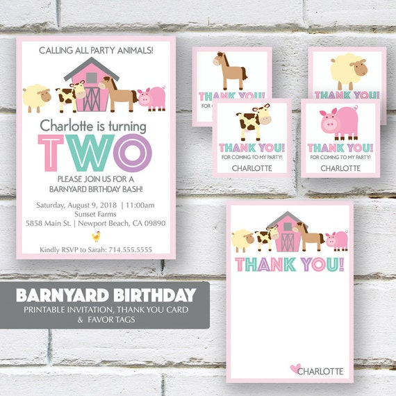 Barnyard Birthday Party Invitation Package Favor Tags Thank