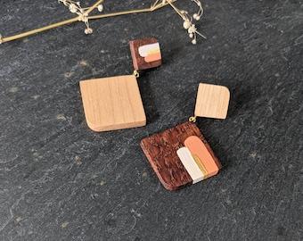 Asymmetrical Statement Earrings - Handmade Wooden Jewellery - Unique Eco Friendly Jewellery - Hand Painted Art Earrings