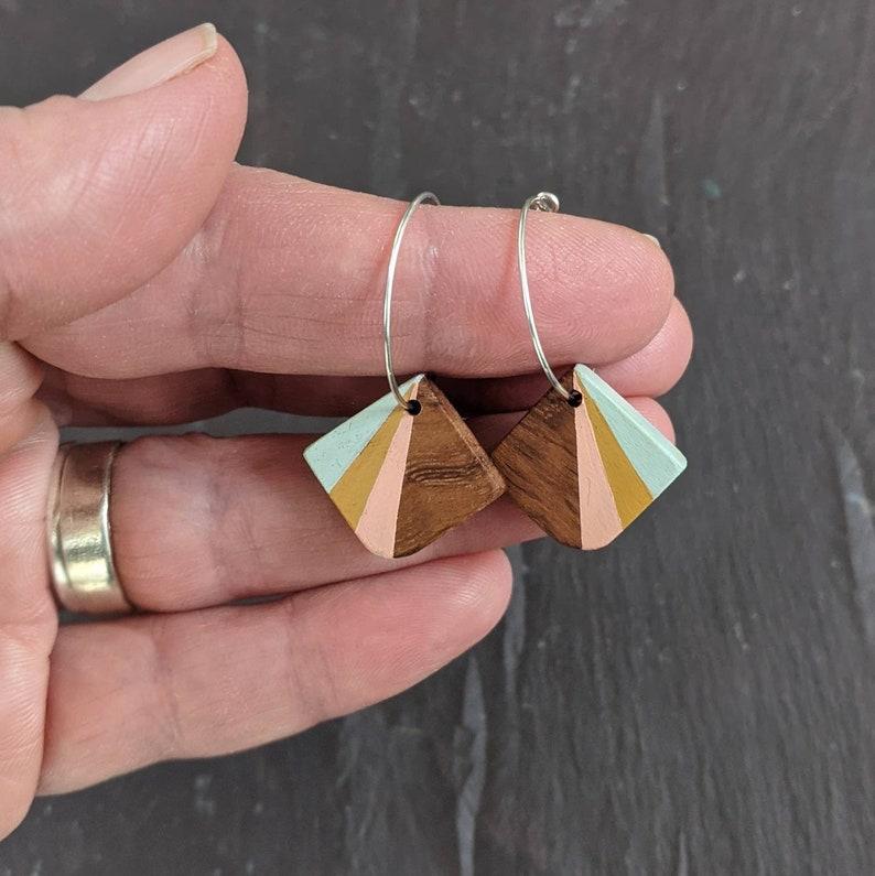 Hand Painted Wooden Hoop Earrings Pastel Colour Earrings Fifth Anniversary Gift for Her Art Deco style Fan Earrings