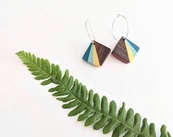 Hand Painted Wooden Hoop Earrings, Fifth Anniversary Gift for Her, Art Deco style Fan Earrings, Blue Earrings
