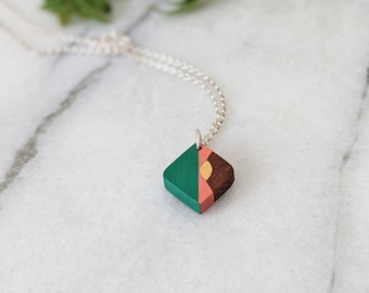 Hand Crafted Wooden Necklace - Geometric Mini Pendant- 5th Wedding  Anniversary Jewellery - Eco Gift for Her