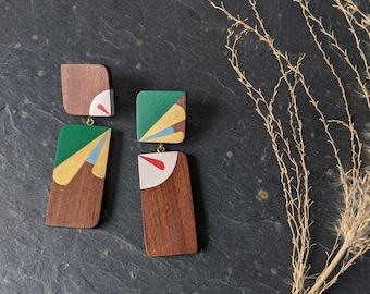 Statement Abstract Art Earrings - Handmade Wooden Jewellery - Unique Eco Friendly Jewellery - Unusual Hand Painted Earrings