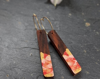 Handmade Red and Gold Earrings - Wooden Hoop Earrings - 5th Wedding Anniversary Gift - Gifts for Her - Unique Dangle Earrings