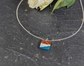 Handmade Wooden Necklace - Blue Mountain Pendant - Art Jewellery - 5th Wedding  Anniversary Necklace - Adventure Gift
