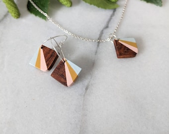 Handmade Wooden Jewellery Set - Necklace and Earrings - Geometric Mini Pendant- 5th Wedding  Anniversary Jewellery - Eco Gift for Her