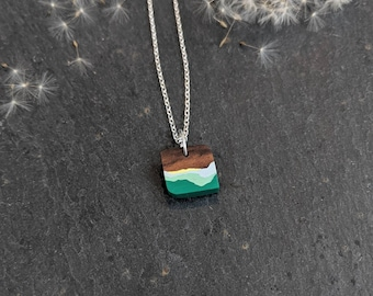 Handmade Wooden Pendant - Green Necklace - Seaside Jewellery - 5th Wedding  Anniversary Necklace - Eco Gift for Her