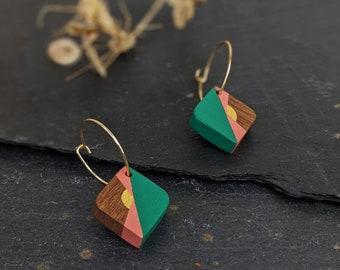 Hand Painted Wooden Earrings - Wooden Hoop Earrings - Geometric Earrings - 5th Anniversary Gift - Gift for Her - Bridesmaids Gift