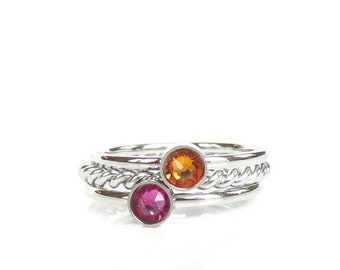 Stackable Birthstone Rings, Family Ring, Personalized Jewelry, Stainless Steel Silver, Gift for Mom, Grandma, New baby Gift, Best Friend