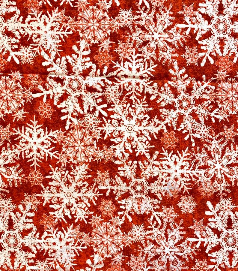 Wintergraphix by Jason Yenter for In The Beginning Fabrics Red Snowflake 100/% Cotton Fabric Yardage