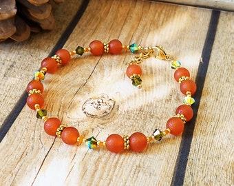 Bracelet Pierre orange de cornaline dépolie 6mm et cristal de Swarovki longueur ajustable / Orange carnelian stone bracelet