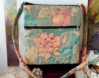 Petit sac bandoulière double ouverture, tissu coton jacquard fleurs rose, fond vert d'eau - Floral pink green jacquard fabric bag