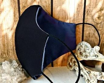V2 Masque Homme confort Noir / Bleu indigo clair  Tissu 100% coton 3 épaisseurs et poche filtre, Black and light blue cotton fabric Men mask