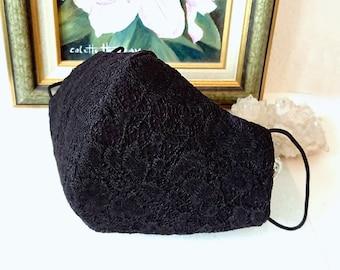 SF - Masque Soirée femme dentelle florale noire, doublure coton, douceur et confort, Black lace women mask