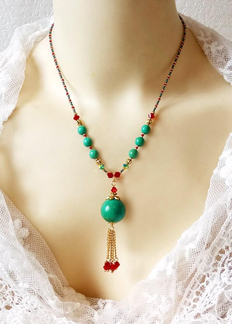 rouge jade 10mm collier 43 cm