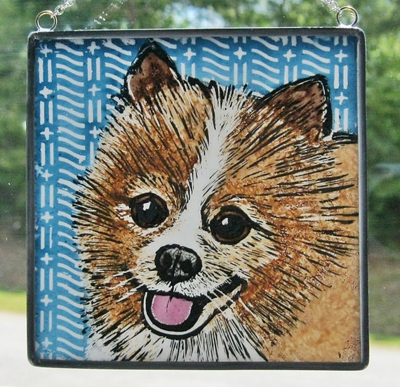 Pomeranium Custom Made Stained Glass Dog