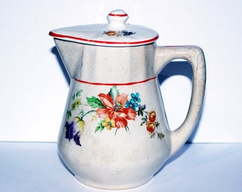 Vintage Floral Creamer, Flower Kitchen Decor, Vintage Coffee Decor