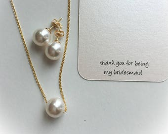 Bridesmaid gift set, pearl bridesmaid jewelry,  silver or gold jewelry set, gift for bridesmaid, gift for mothers,