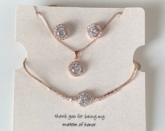 72fb8ec70 CZ 3 piece bridal set in gold, Silver or Rosegold. bridesmaid jewelry