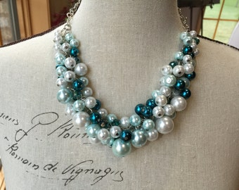 4 19.99 and one 15.99 Clearance Clustered Pearl necklace in light blue (Aqua) teal blue and white with teal crystals, bridesmaid jewelry