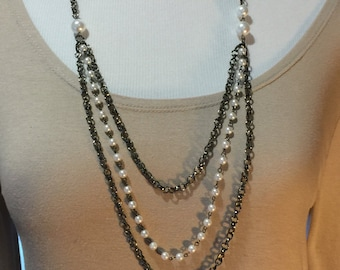 Gunmetal long necklace with pearls and gunmetal multi chain necklace