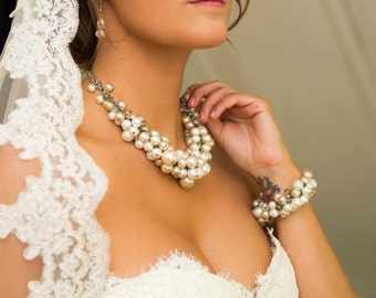 Clustered pearl necklace-  in champagne ivory and white.-wedding jewelry, bridesmaids necklace- chunky pearl necklace
