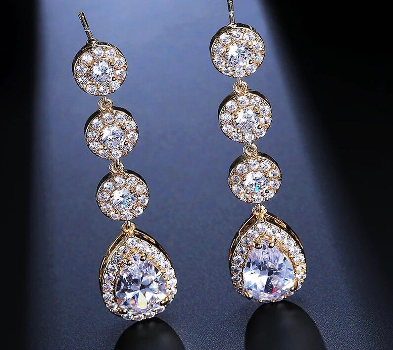 bridal jewelry bridesmaid gift gold or silver  dangle rhinestone earrings Rose gold crystal earrings
