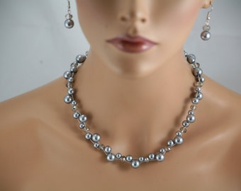 Clearance pearl and crystal necklace you pick color- wedding jewelry, bridesmaids necklace, bridal jewelry,