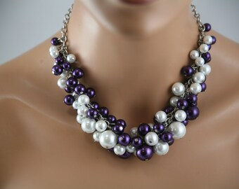 White and purple clustered pearl necklace - bridesmaid jewelry, chunky pearl statement necklace,  purple wedding jewelry