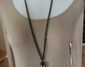 Gunmetal crystal necklace one of a kind long necklace