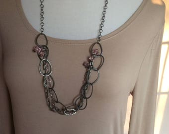 Long beaded necklace one of a kind with pink crystals as pictured
