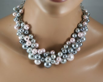 Silver pewter and light pink clustered pearl necklace bridesmaid jewelry-blush pink pearls- statement necklace
