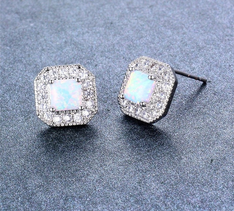 White square fire opal stud earrings 925 sterling stud earrings perfect for your bridesmaid jewelry
