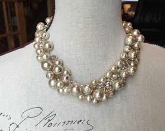 Champagne Pearl cluster necklace on silver chain, chunky pearl necklace, statement necklace, cluster pearl necklace