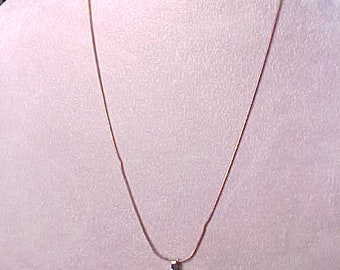 """Gift Sterling Silver Bronze chain Necklace with Pink Cubic Zirconia Pendant 21"""" 4.9 grams"""
