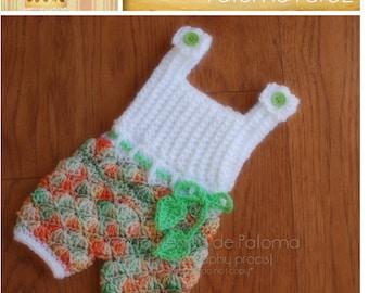 INSTANT DOWNLOAD - Crochet Shelly Romper/Dress Pattern - Baby Shelly pattern - Crochet pants with suspenders pattern - Crochet pattern