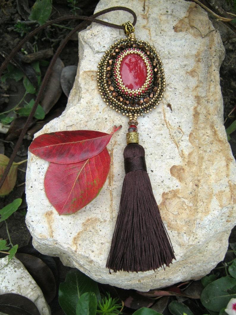 Handmade necklace Bead embroidery pendant Long necklace Seed bead necklace Unique gift Gift for women