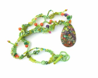 Summer necklace, Green jewelry, Colorful necklace, Boho jewelry, Beaded jewelry, Statement necklace, Sea Sediment Jasper, Gift for women