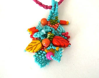 Colorful necklace / Beaded jewelry / Gift for her / Handmade pendant / Freeform beadwork / Beaded necklace