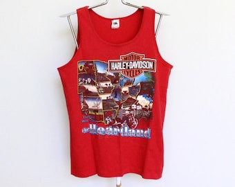 60158dfa61e412 Vintage Harley Davidson Tank Top T Shirt Mens Medium   Large Unisex Womens  Motorcycle Biker 90s 1990 Red Sleeveless Vtg Worth Kansas City MO