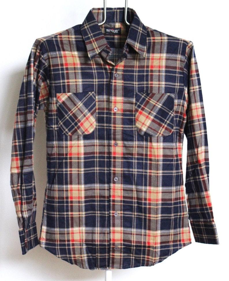 Vintage Big Yank Plaid Flannel Shirt Mens Medium Unisex Womens Multi Color Block Soft Blue 90s