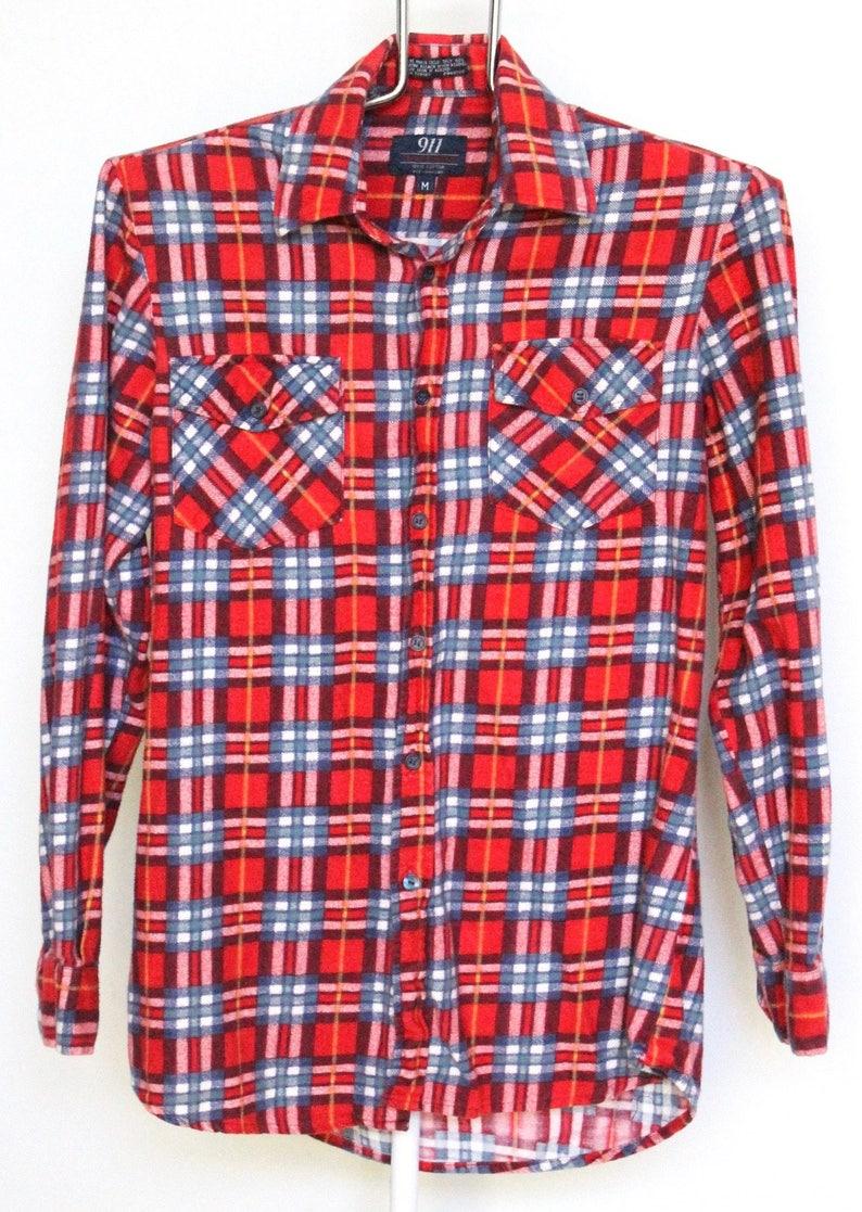 Red Plaid Flannel Shirt Mens Medium Unisex Womens Vintage Etsy