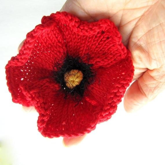 Knit Flower Instant Download Pdf Pattern Poppy Flower Etsy