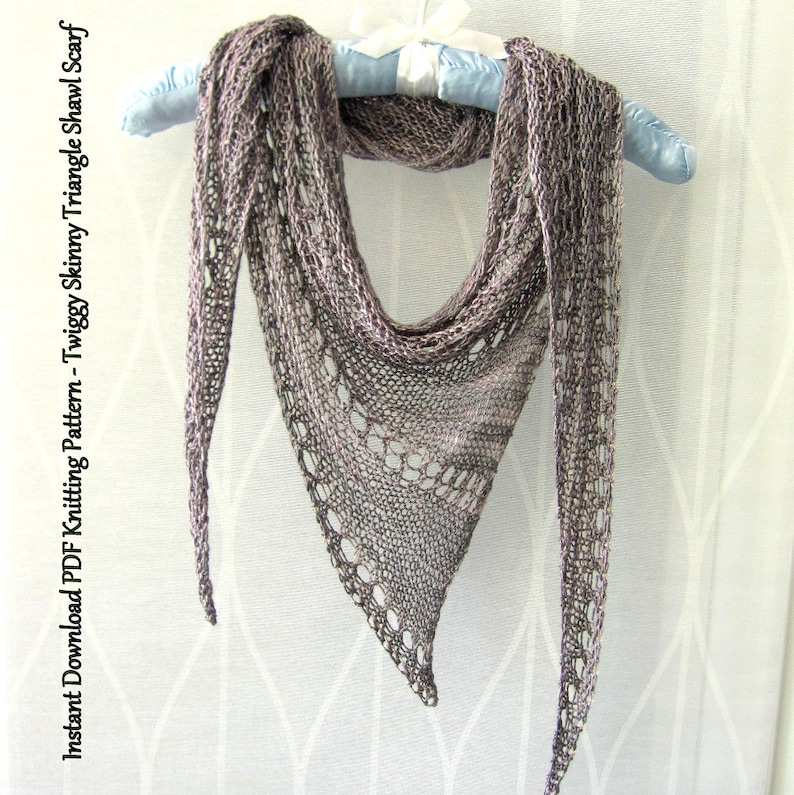 Instant Download Pdf Knitting Pattern Twiggy Skinny Triangle Etsy