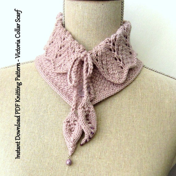 Scarf Knitting Pattern Instant Download Pdf Victoria Collar Etsy