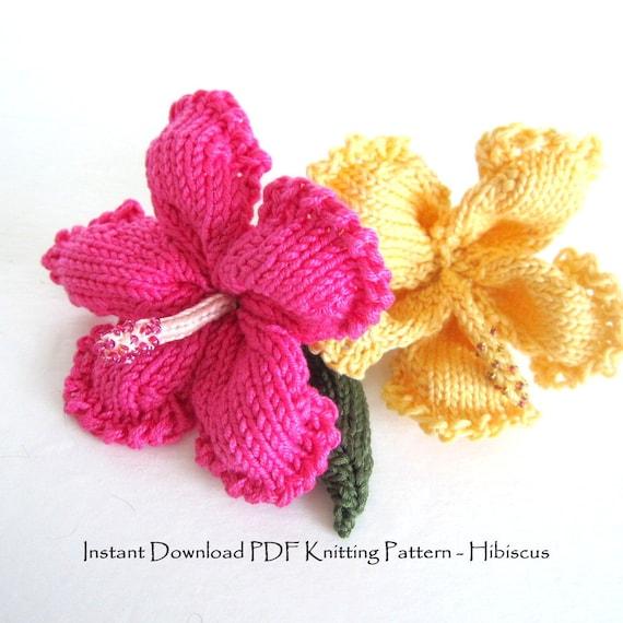 Knit Flower Instant Download PDF Pattern Hibiscus Flower | Etsy